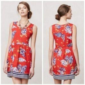 ANTHROPOLOGIE | porridge red floral dress 0887